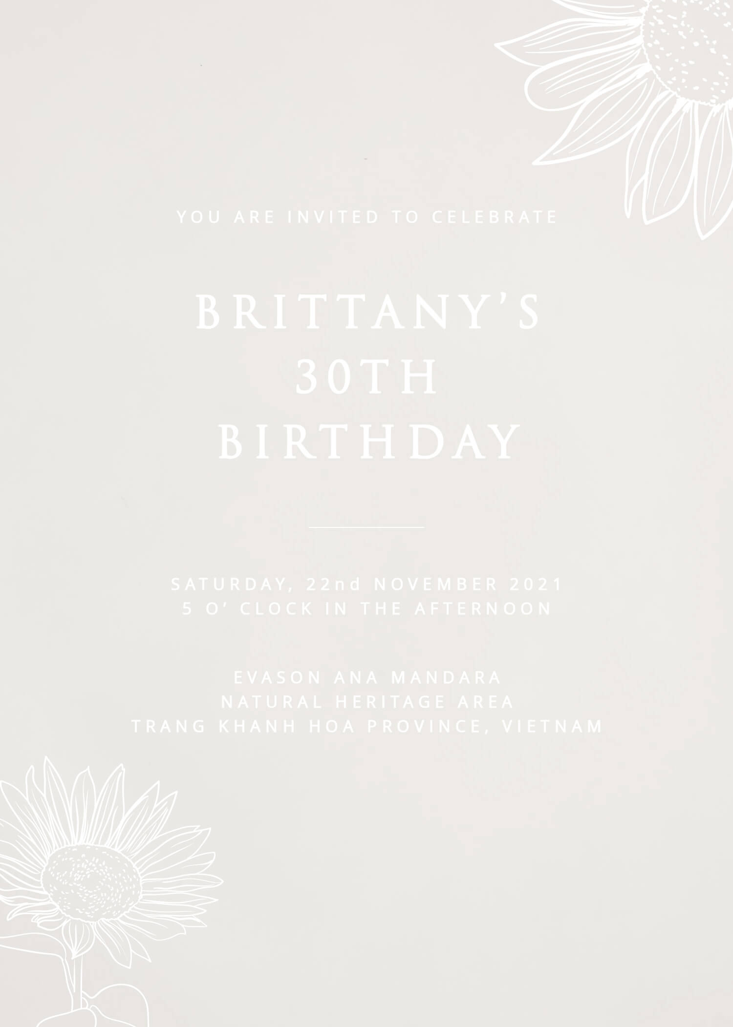 Golden Sunflower - Birthday Invitations