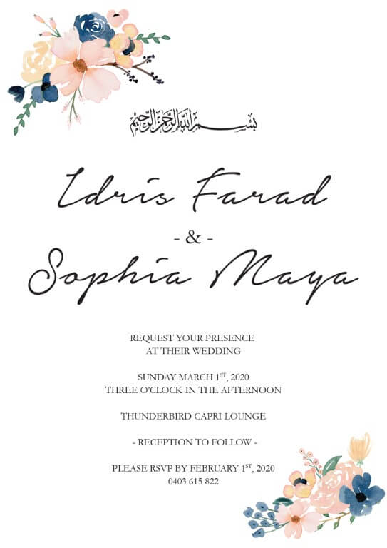Blushing Blue Wedding Invitations - wedding invitations