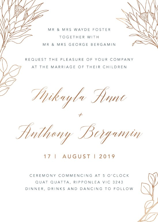 The King Protea Wedding Invitations - wedding invitations