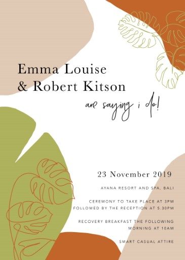 Tropical Camo Wedding Invitations - wedding invitations
