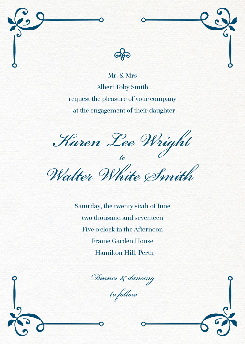 Vintage Cobalt - engagement invitations