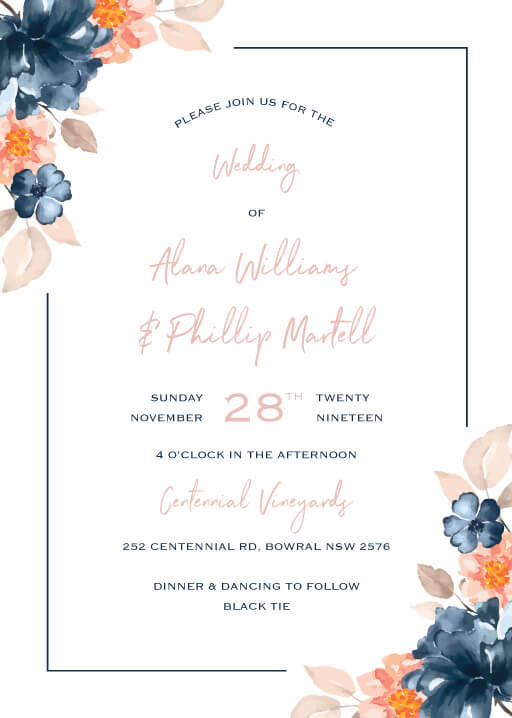 Watercolour Posy Wedding Invitations - wedding invitations