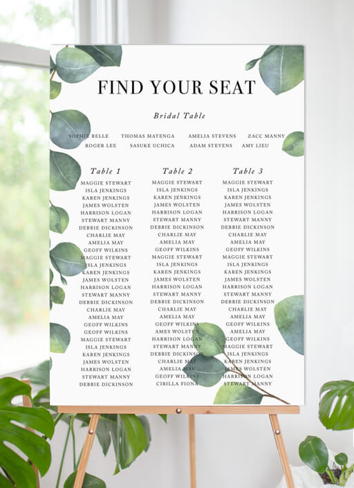 Eucalyptus - seating charts