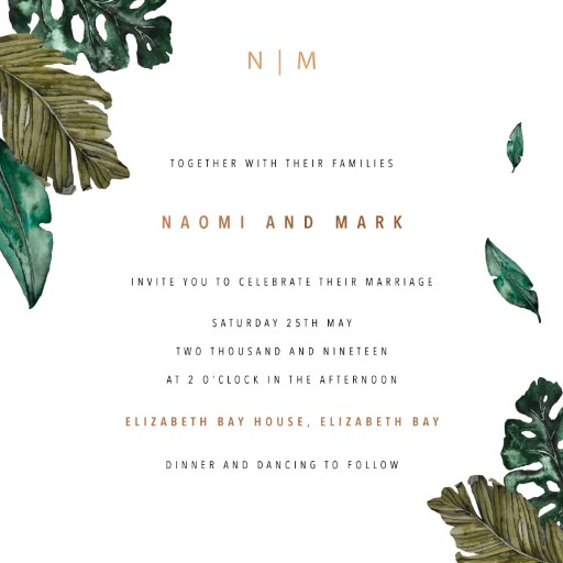 Moody Tropics Wedding Invitations - wedding invitations