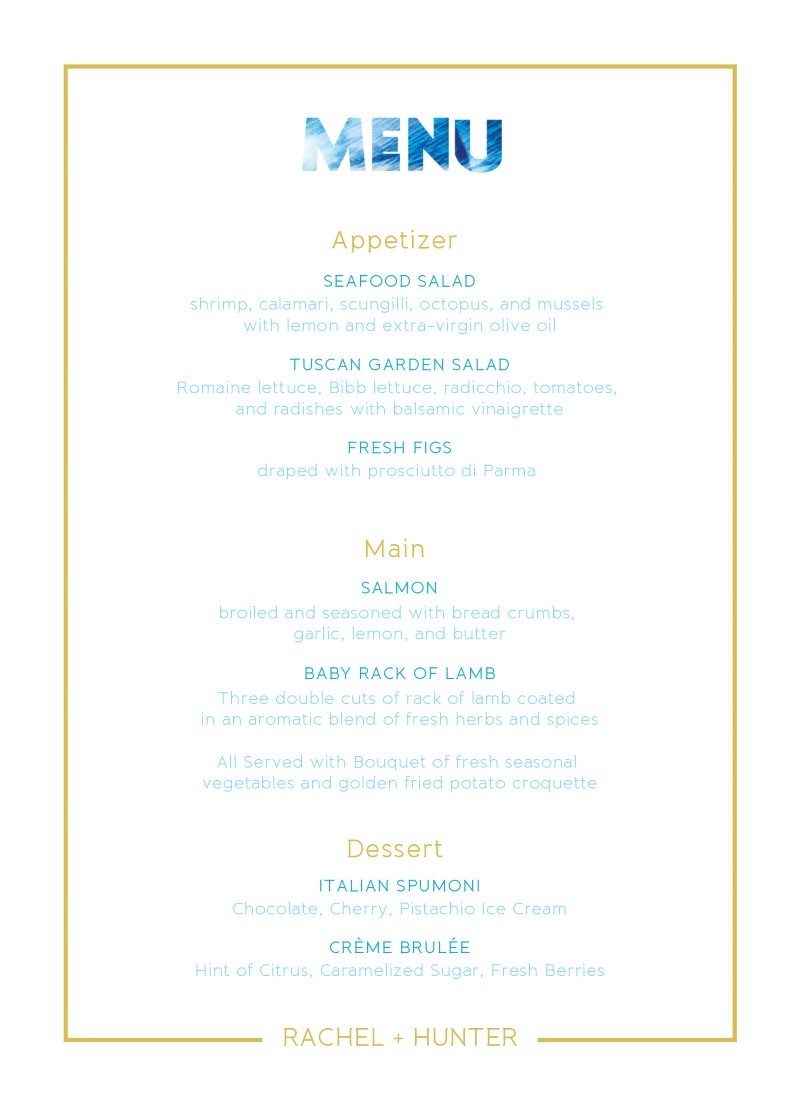 Peacock - Menu Card