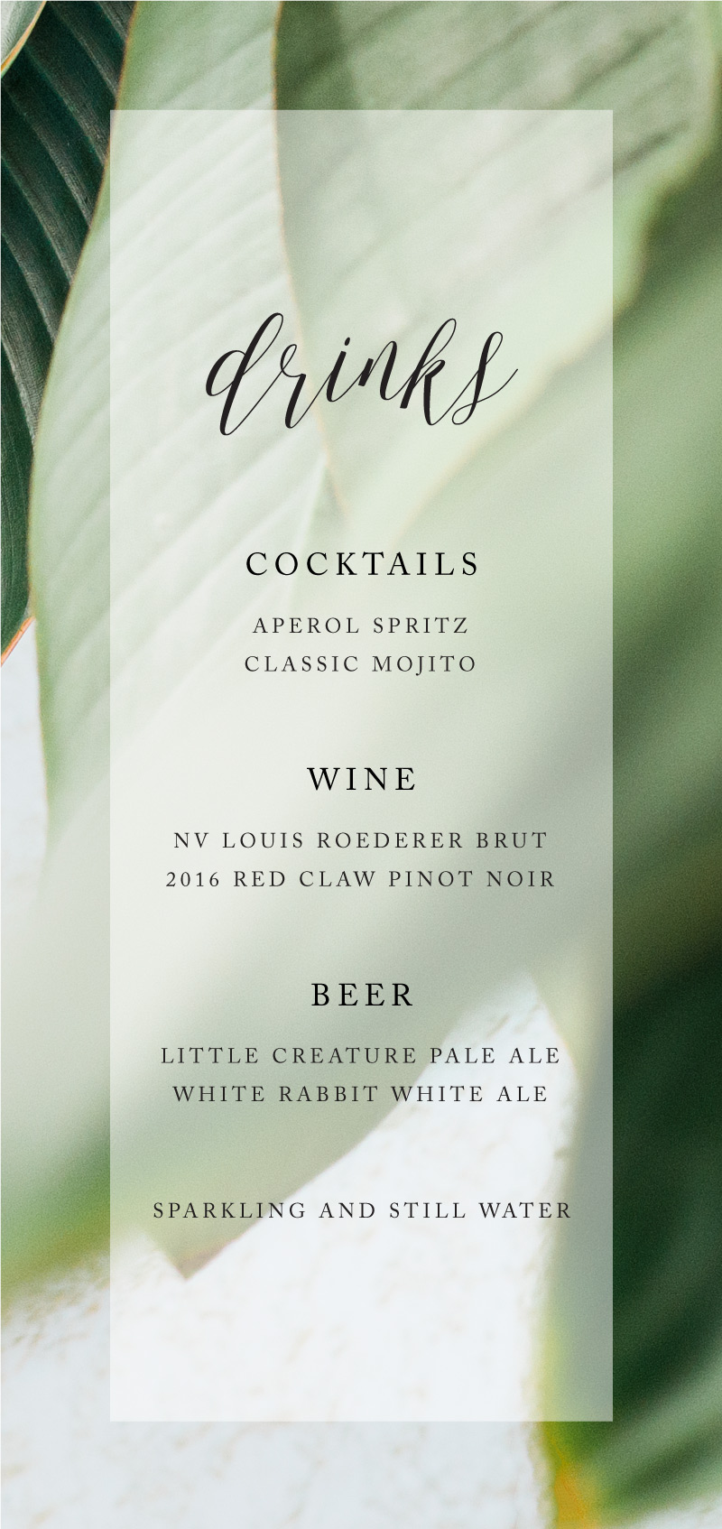Tropical Leaves - Menu