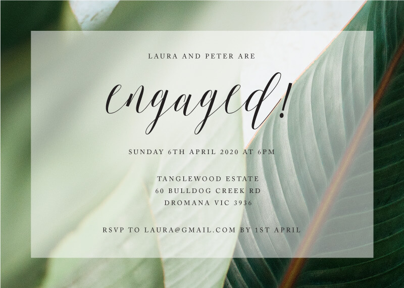 Tropical Leaves - Engagement Invitations