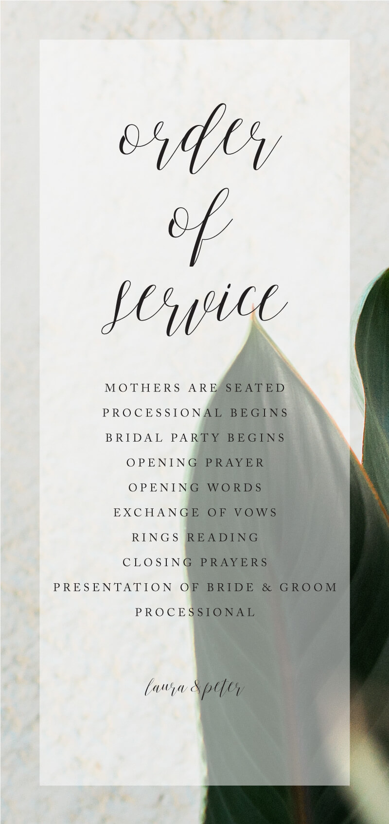 Tropical Leaves - Order Of Service
