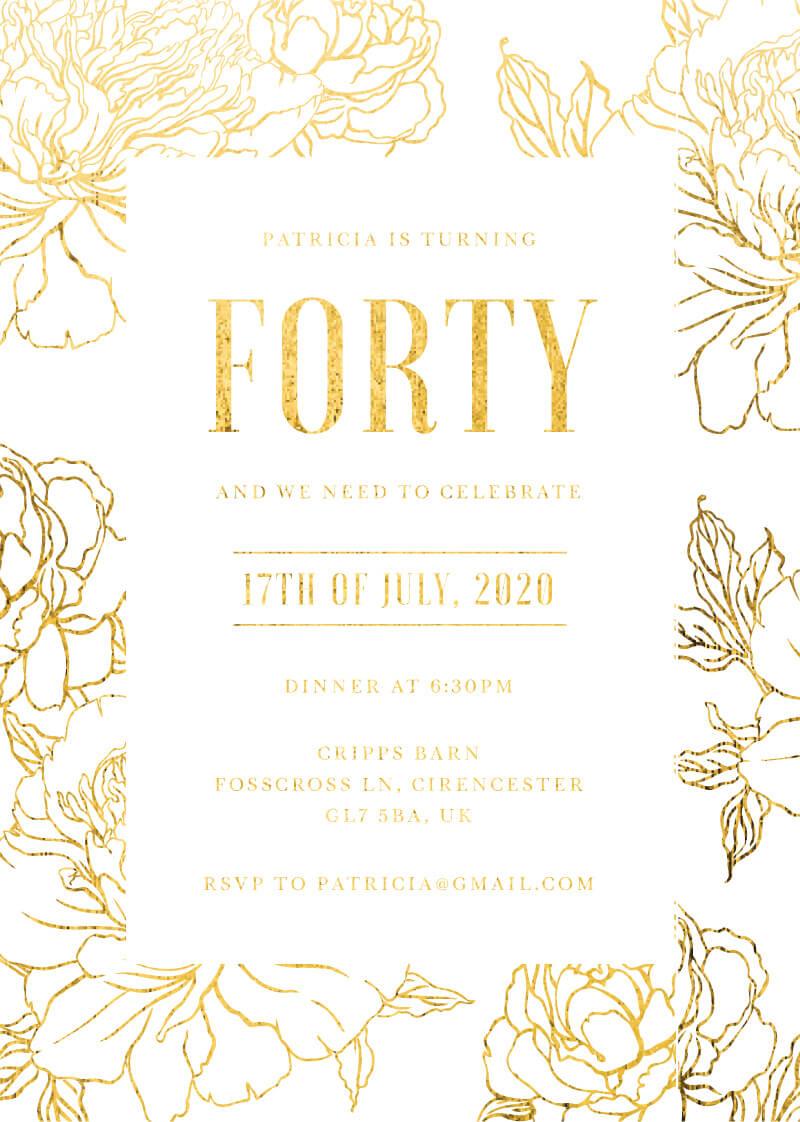 Golden Bloom - Birthday Invitations