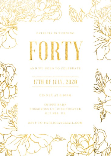 Golden Bloom - birthday invitations