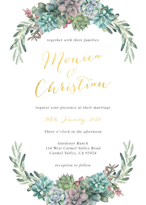 Echeveria Wedding Invitations - wedding invitations