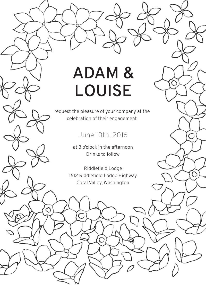 Blooms - engagement invitations