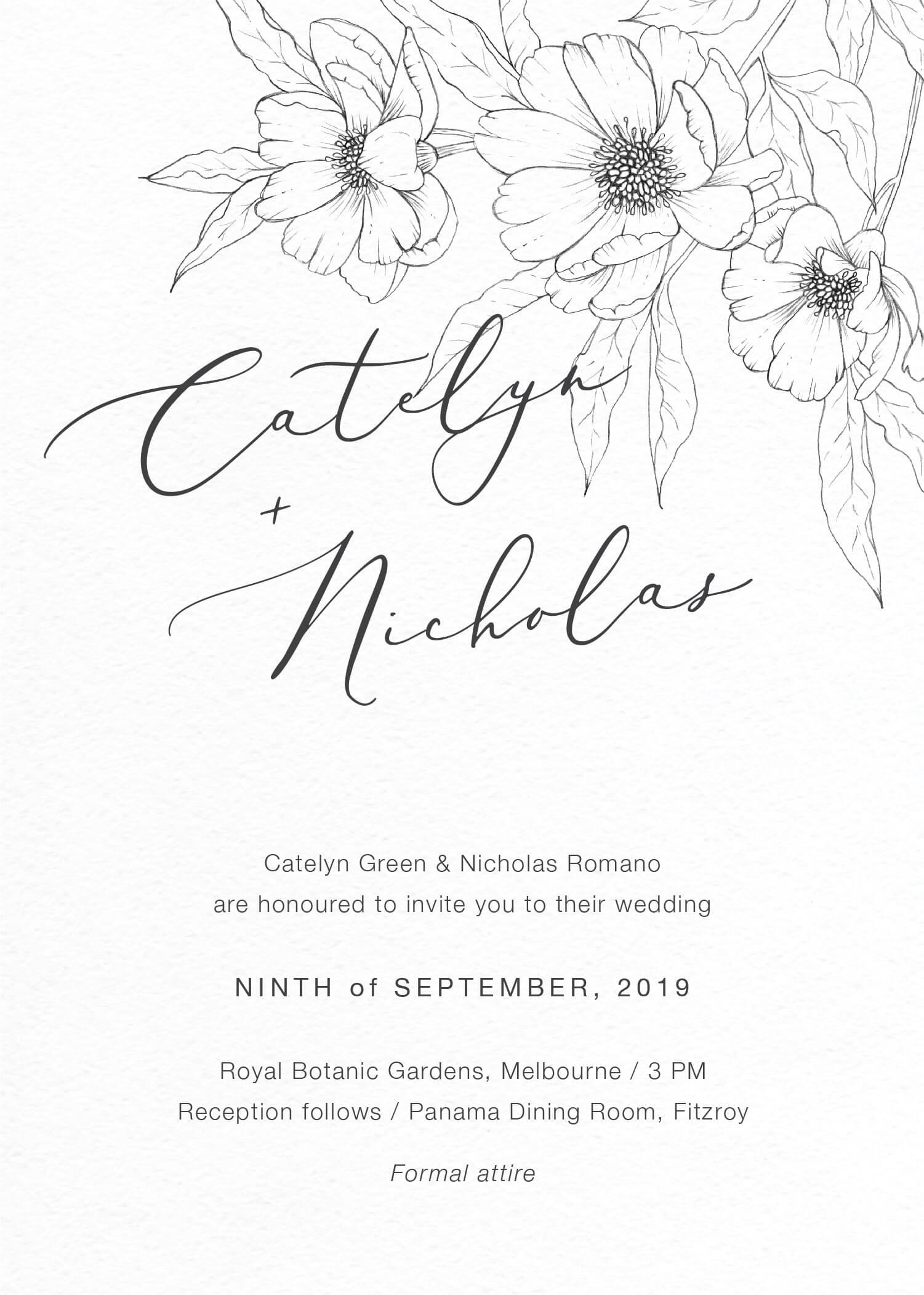 Graphite Blooms - Wedding Invitations