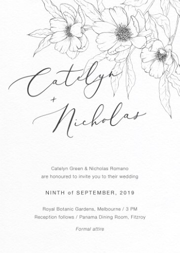 Graphite Blooms Wedding Invitations - wedding invitations
