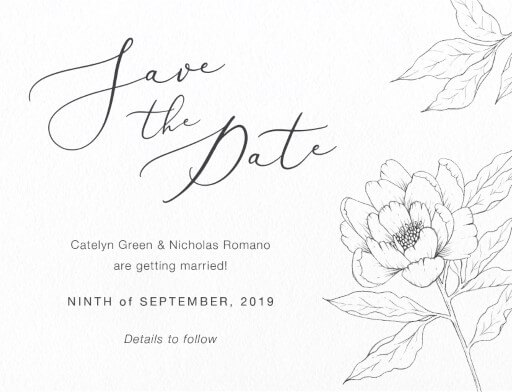 Graphite Blooms Save The Date - Save The Date
