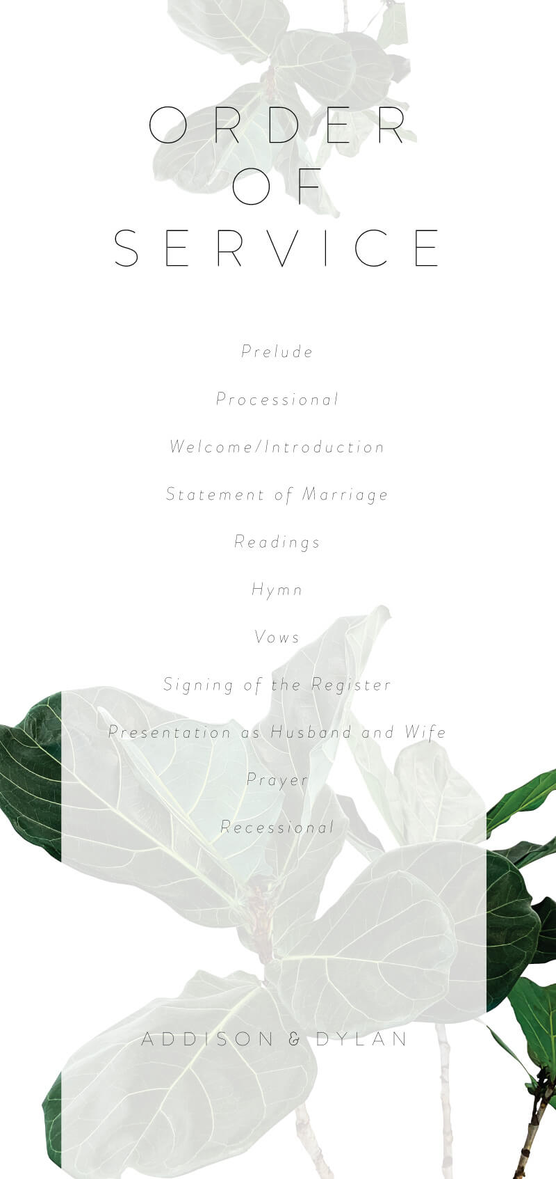 Fiddle Leaf Fig - Order Of Service