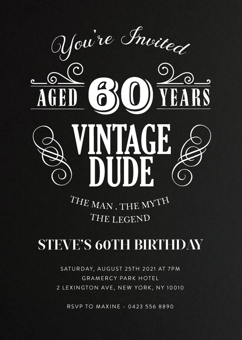Aged to Perfection - Birthday Invitations