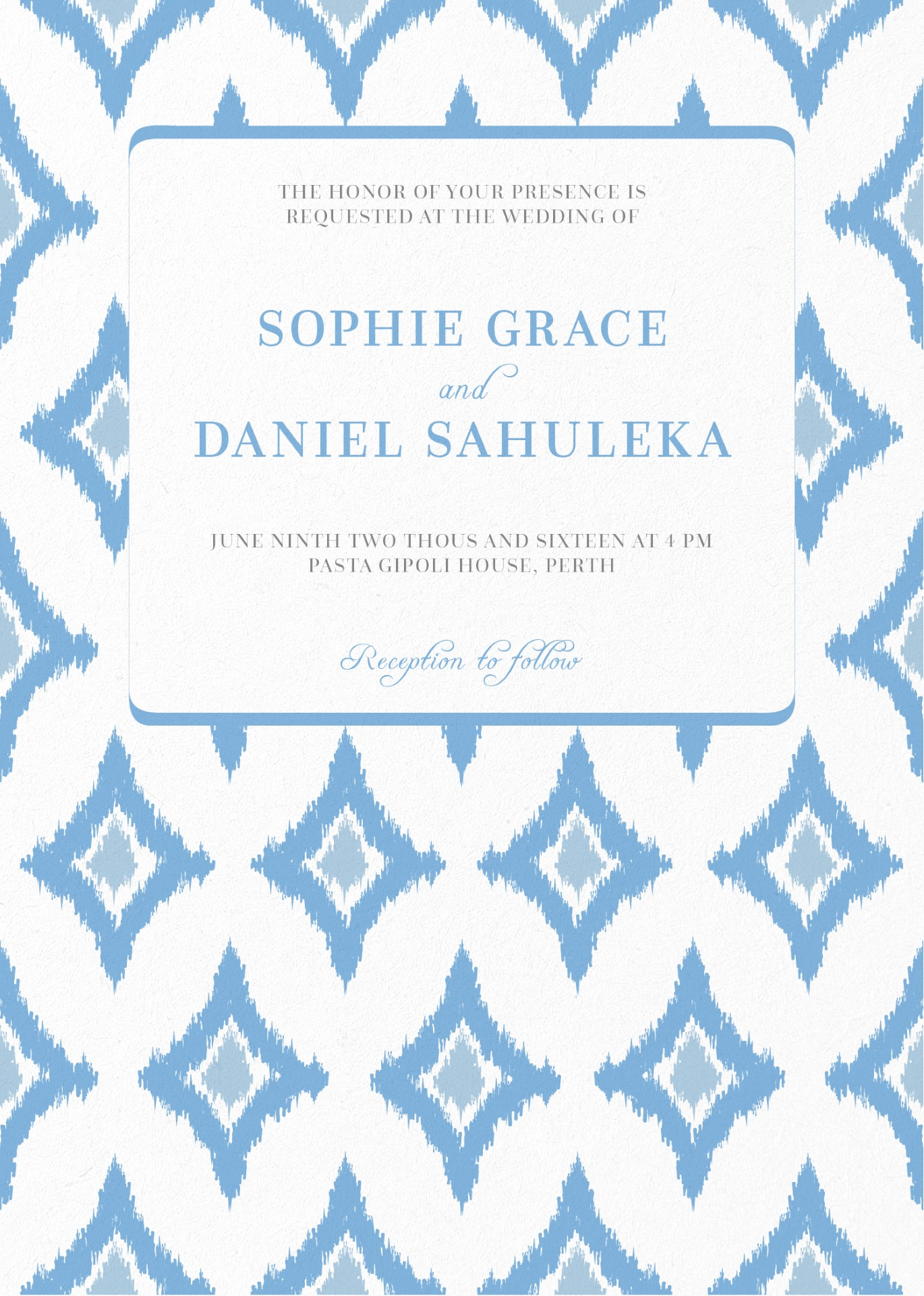 Subtle Blue Ikat - Invitation