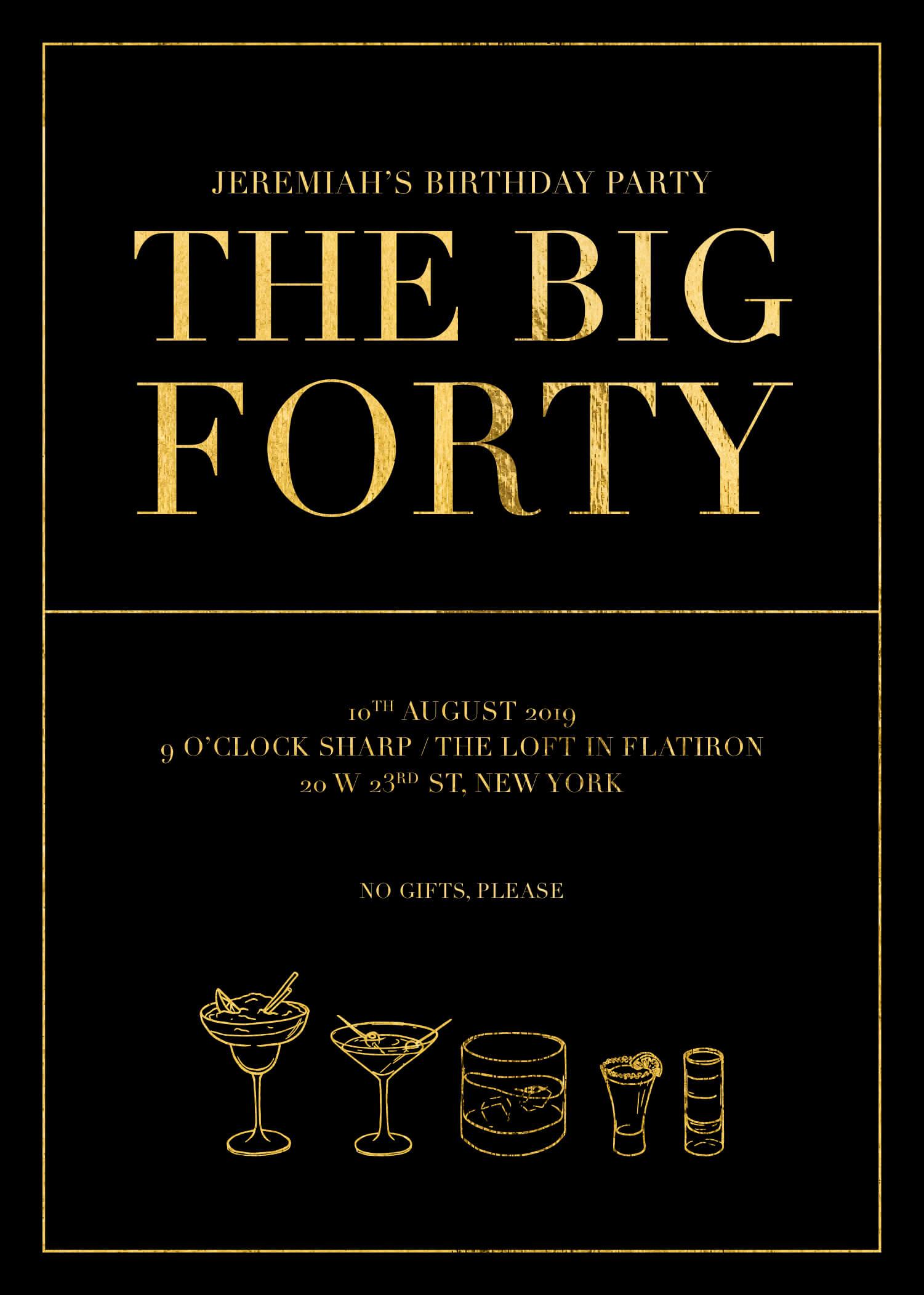 The Big 40 - Birthday Invitations