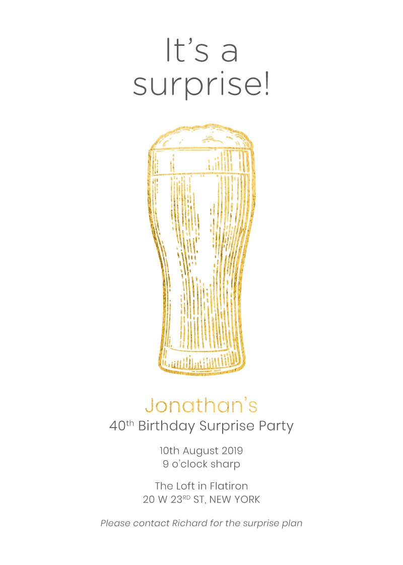 Surprise Beer Bash - Birthday Invitations