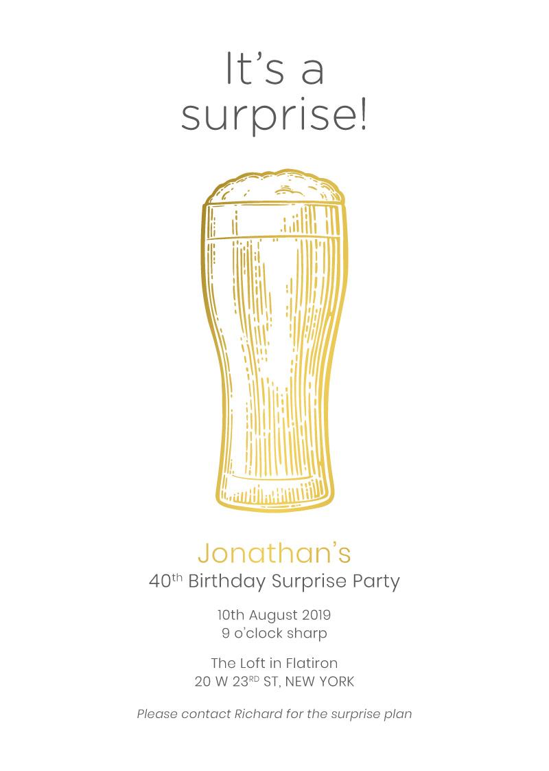 Surprise Beer Bash - Birthday Invitations