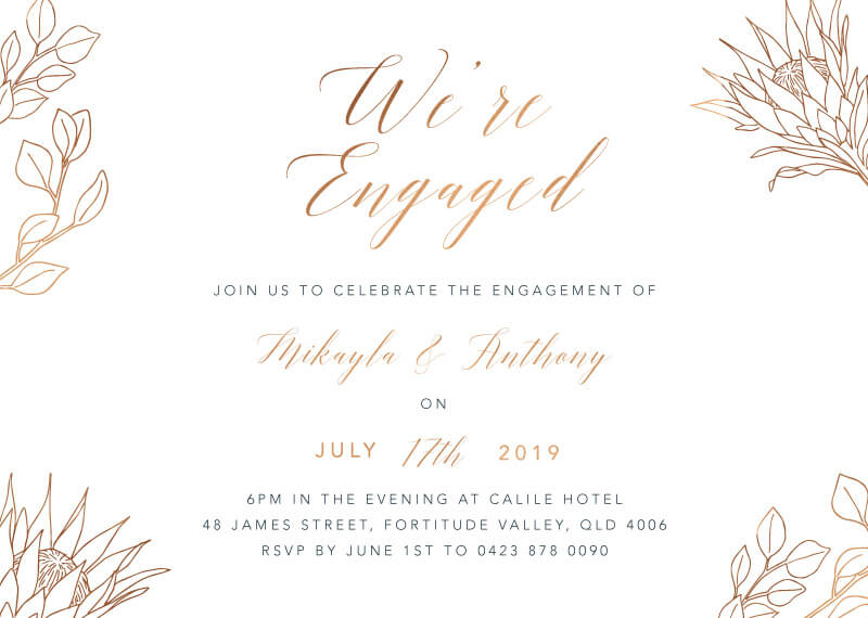 The King Protea - Engagement Invitations