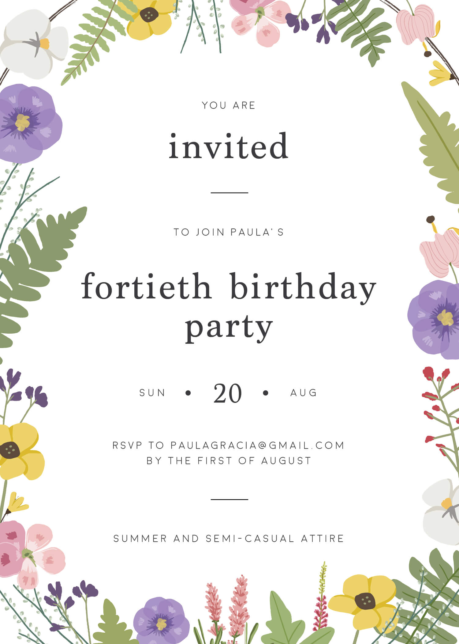 Bonny Blooms - Birthday Invitations