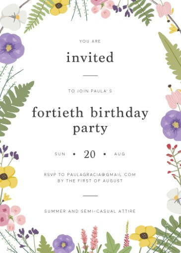 Bonny Blooms - birthday invitations