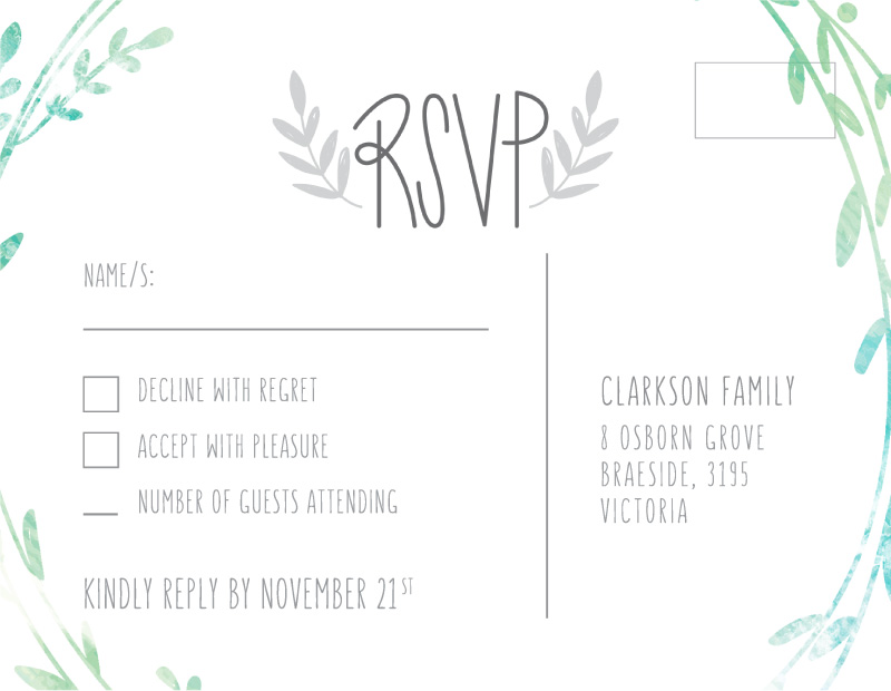 Leaf Wreath - RSVP Cards