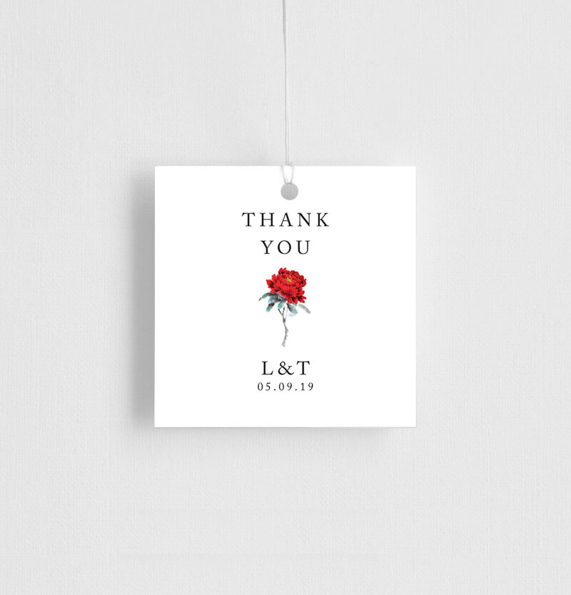 Red Peony - Gift Tags