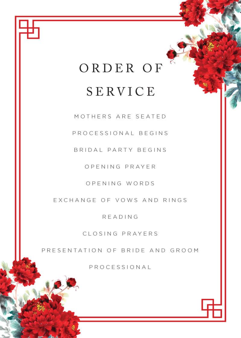 Red Peony - Wedding Programs
