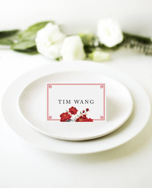 Red Peony - Place Cards