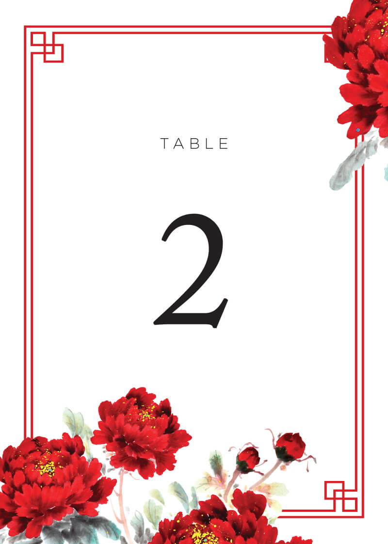 Red Peony - Table Numbers
