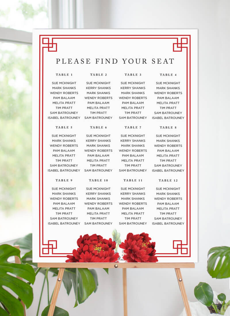 Red Peony - Seating Charts