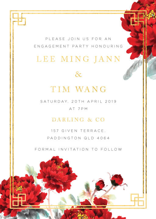 Red Peony - engagement invitations