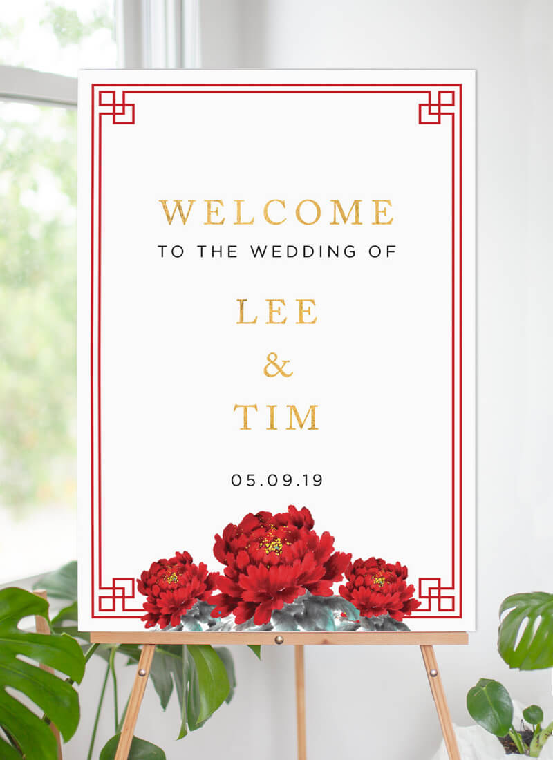 Red Peony - Wedding Signs