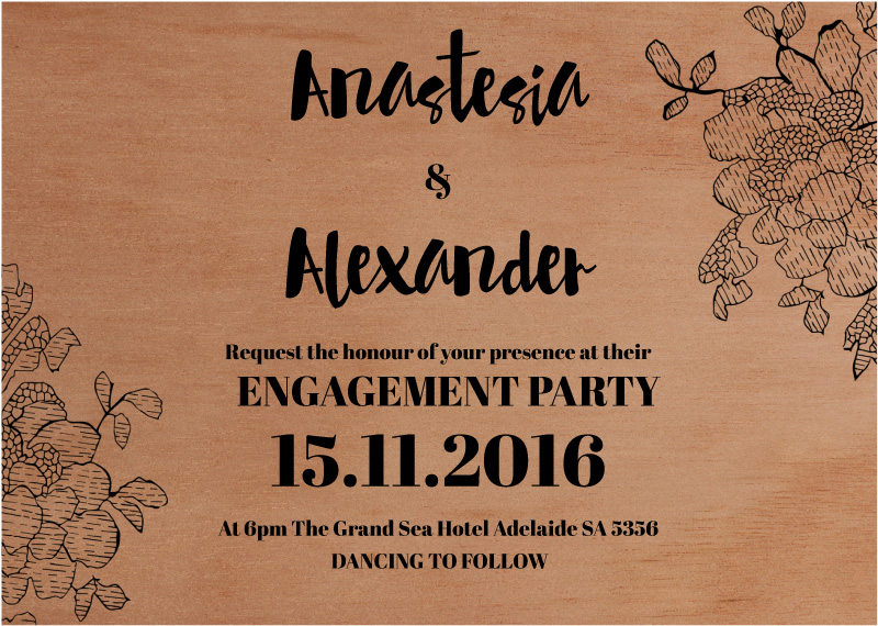 Flowers in the Wood - engagement invitations