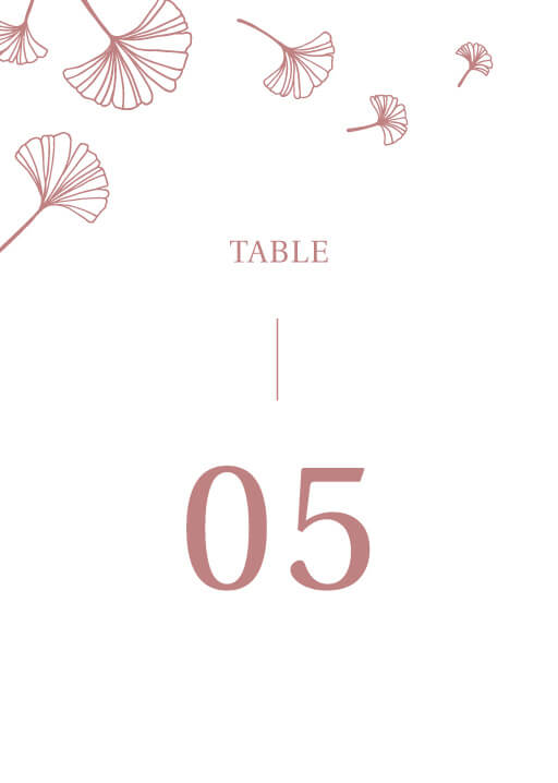Dancing Ginkgo - table numbers