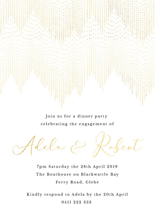 Gold Dust - engagement invitations