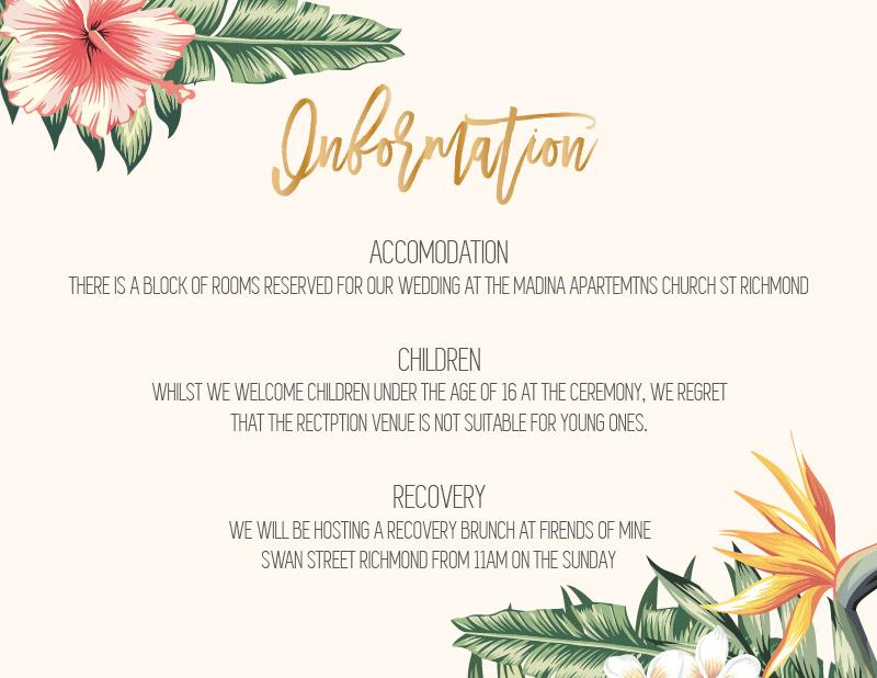 The Tropics - Information Card