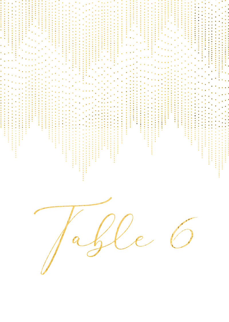 Gold Dust - Table Numbers
