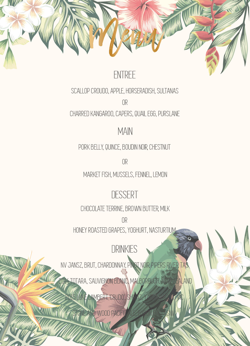 The Tropics - Menu Card