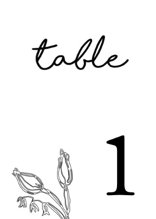 Blanc Bloom - table numbers