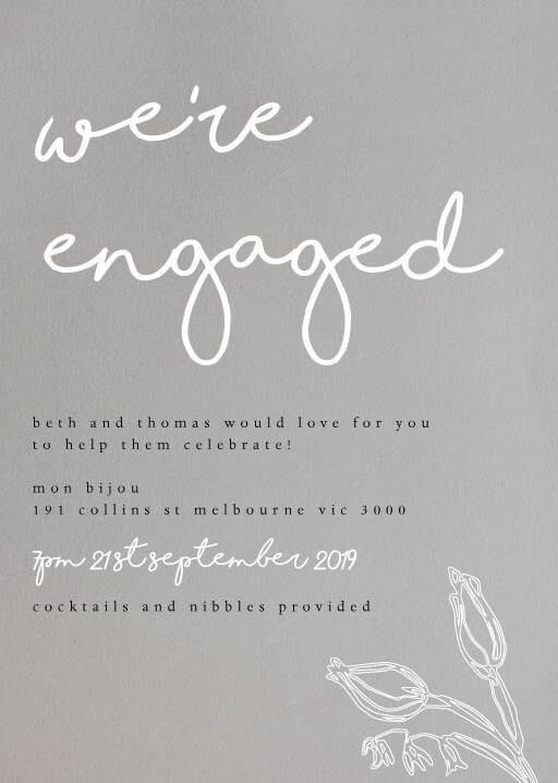 Blanc Bloom - engagement invitations