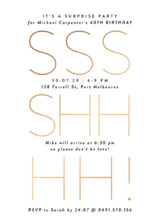 Surprise - birthday invitations