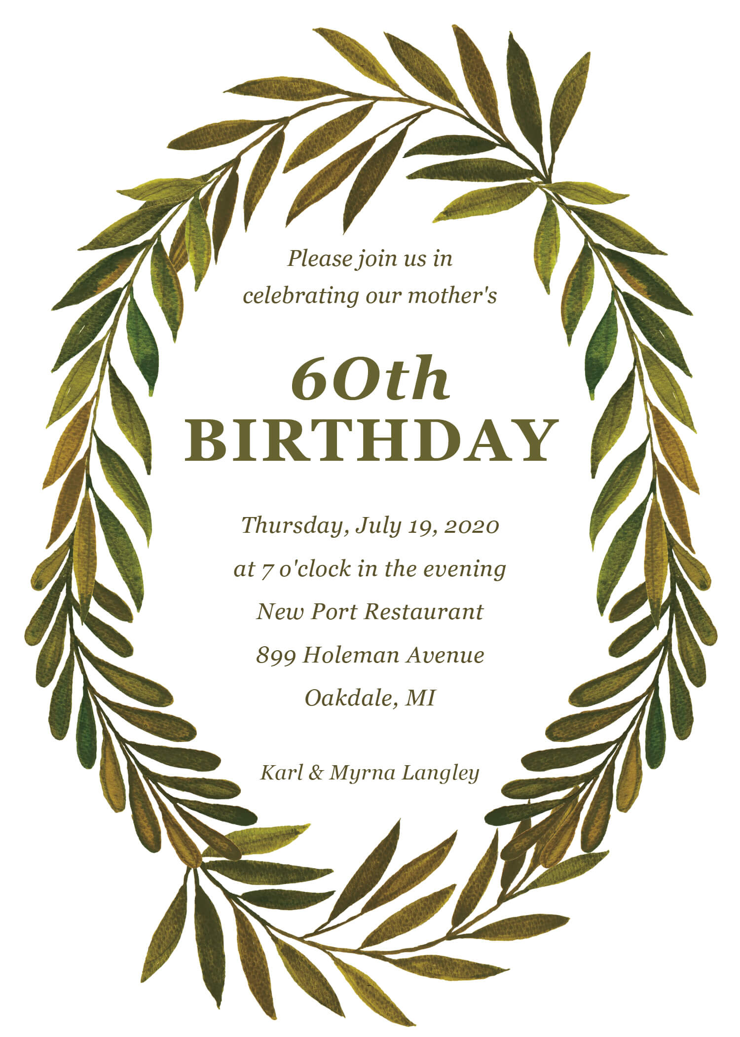 Wreath Leaves - Birthday Invitations