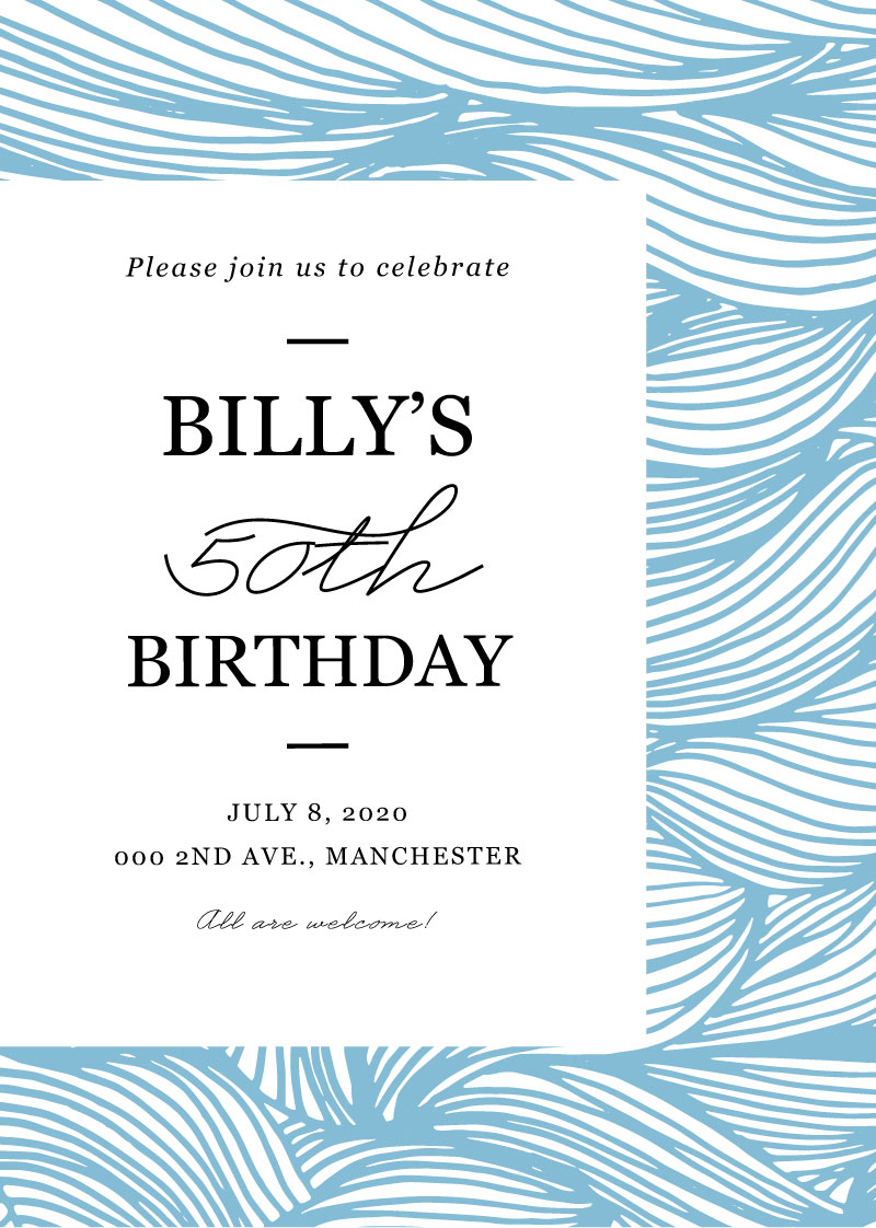 Alluring Wave Lines - Birthday Invitations