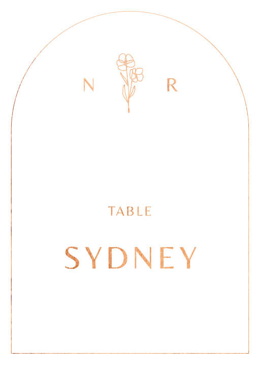 Rose Foil Arch - table numbers