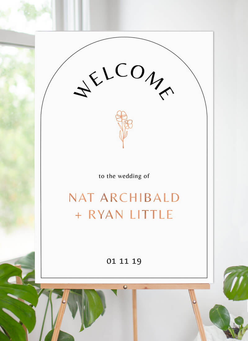 Rose Foil Arch - Wedding Signs