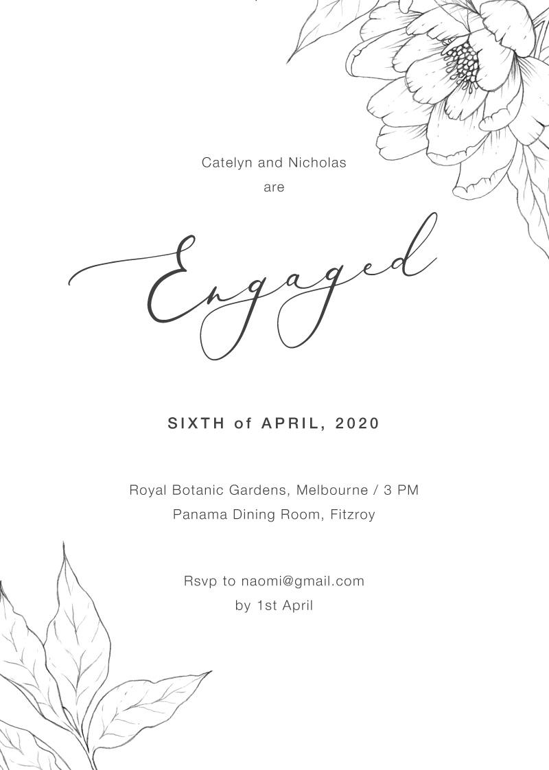 Graphite Blooms  - Engagement Invitations